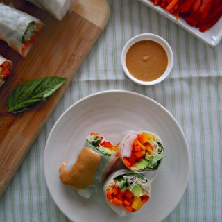Vietnamese Spring Rolls with Peanut Dipping Sauce
